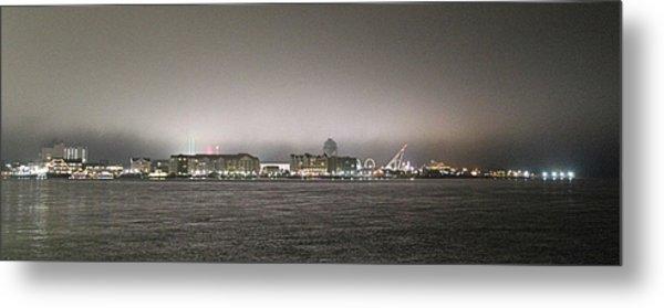 Night View Ocean City Downtown Skyline Metal Print