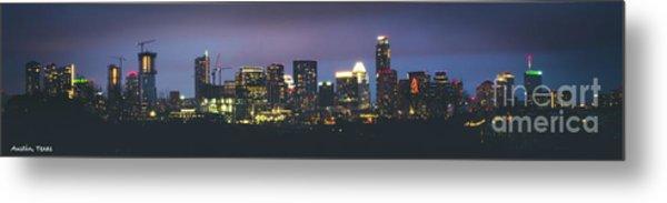Night View Of Downtown Skyline In Winter Metal Print