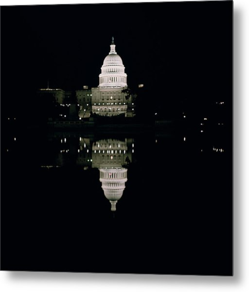 Night View Of The Capitol Metal Print