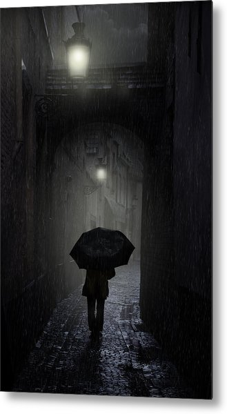 Night Walk In The Rain Metal Print