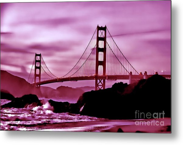 Nightfall At The Golden Gate Metal Print