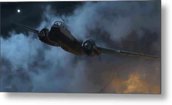 Nightfighter - Painterly Metal Print