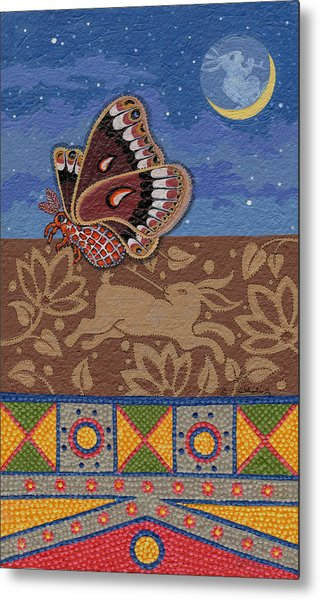 Metal Print featuring the painting Nightime - Tipiskaw, Cree by Chholing Taha