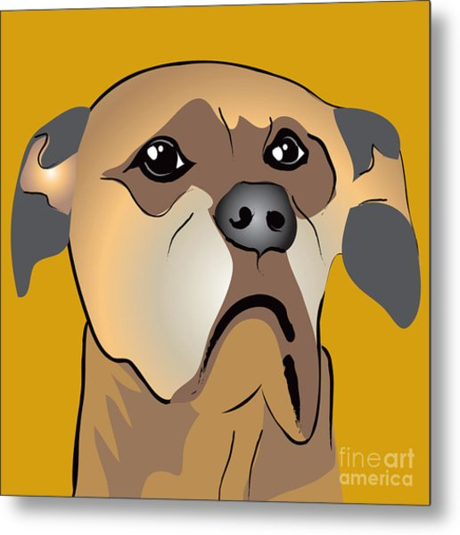 Niki Boxer Dog Portrait Metal Print