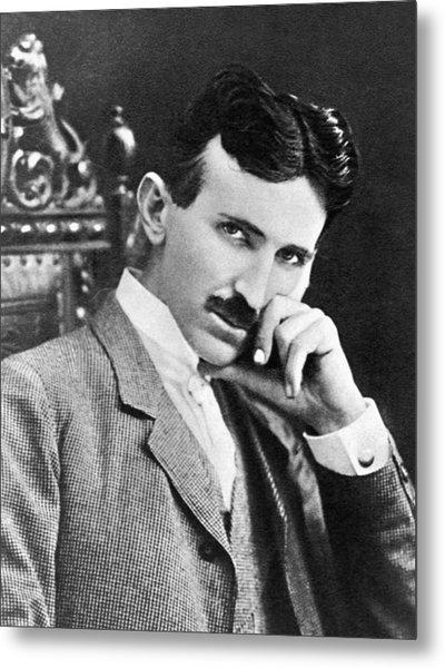 Metal Print featuring the photograph Nikola Tesla by Artistic Panda