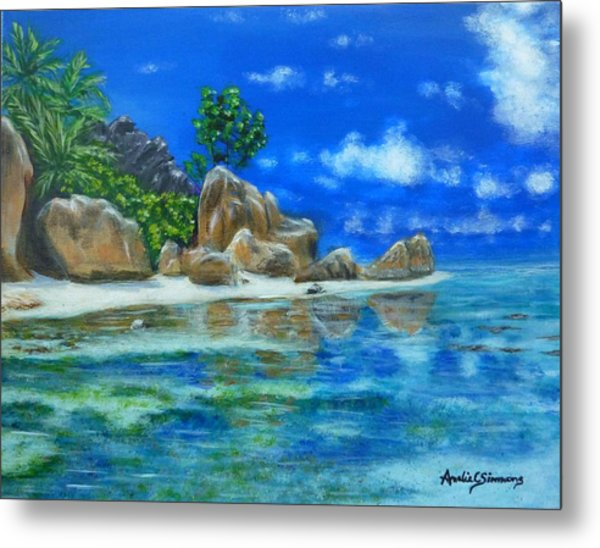 Metal Print featuring the painting Nina's Beach by Amelie Simmons