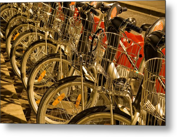 Bikes For Hire In Lyon Metal Print