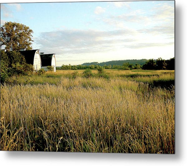 Nisqually Two Barns Metal Print