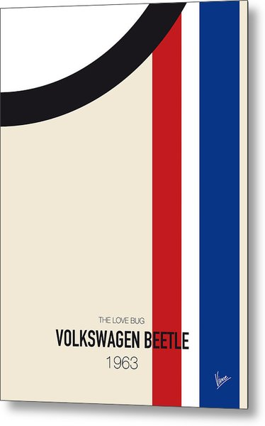 No014 My Herbie Minimal Movie Car Poster Metal Print