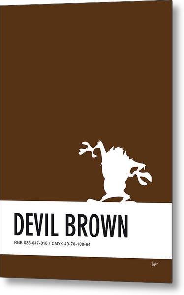 No16 My Minimal Color Code Poster Tasmanian Devil Metal Print