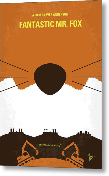No673 My Fantastic Mr Fox Minimal Movie Poster Metal Print