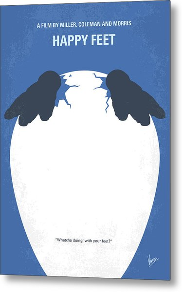 No744 My Happy Feet Minimal Movie Poster Metal Print