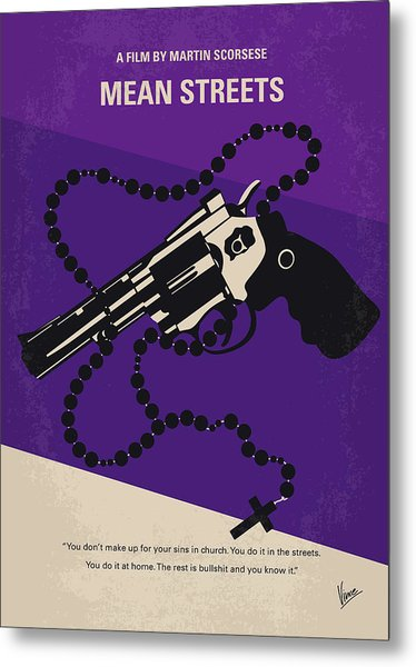 No823 My Mean Streets Minimal Movie Poster Metal Print