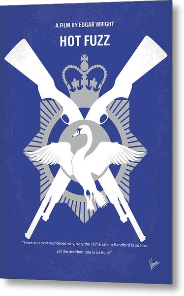 No847 My Hot Fuzz Minimal Movie Poster Metal Print