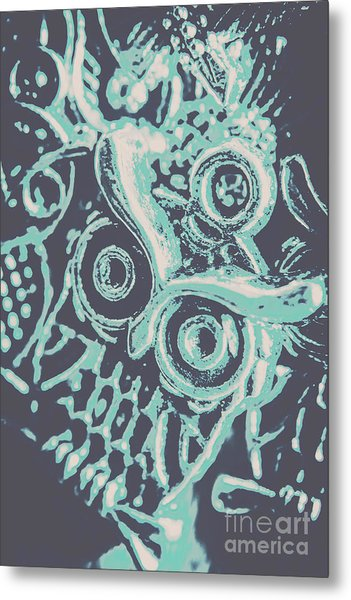 Nocturnal The Blue Owl Metal Print