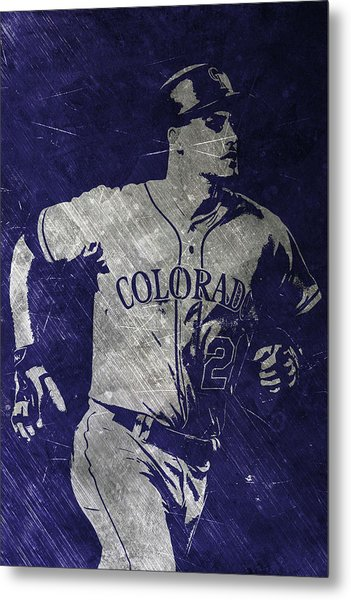 Nolan Arenado Colorado Rockies Art Metal Print