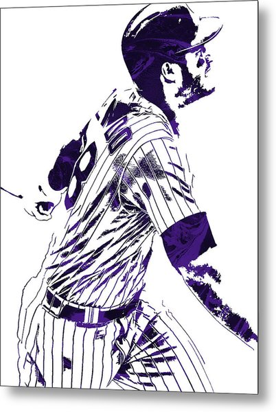 Nolan Arenado Colorado Rockies Pixel Art 3 Metal Print
