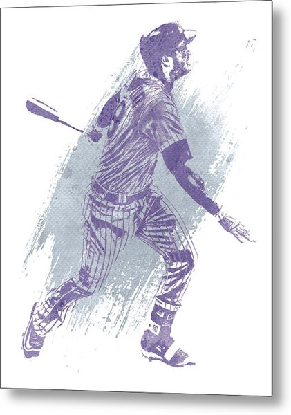 Nolan Arenado Colorado Rockies Water Color Art 1 Metal Print