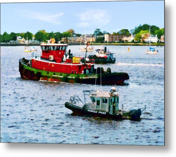 Norfolk Va - Police Boat And Two Tugboats Metal Print