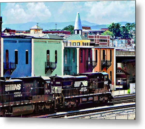 Norfolk Va - Train With Two Locomotives Metal Print