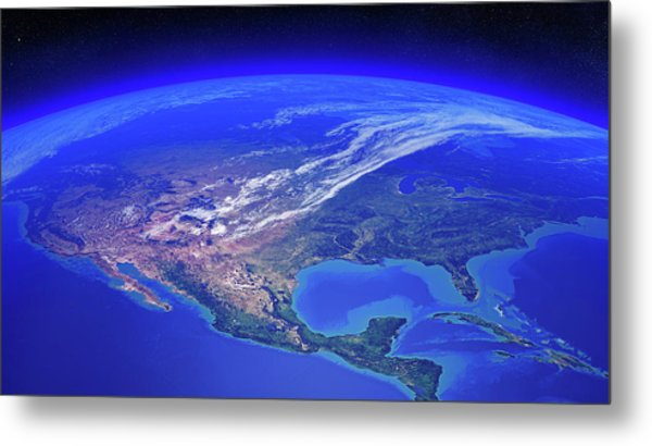 North America Seen From Space Metal Print