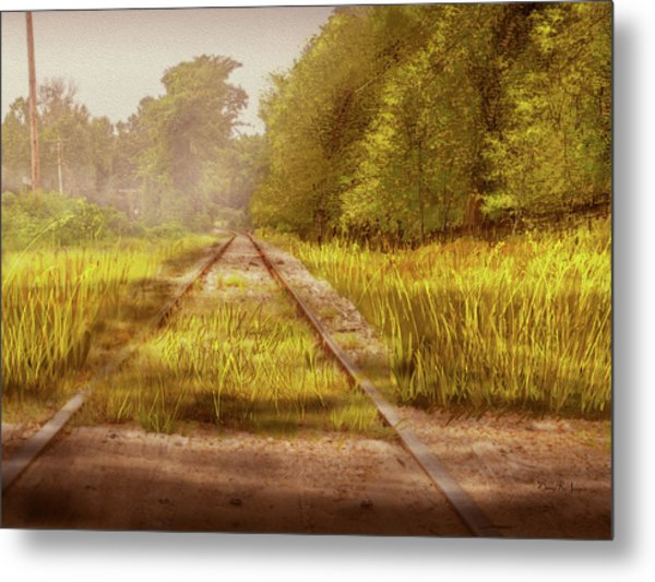 Metal Print featuring the digital art South-bound Tracks by Barry Jones
