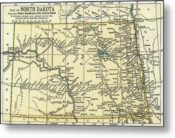 North Dakota Antique Map 1891 Metal Print