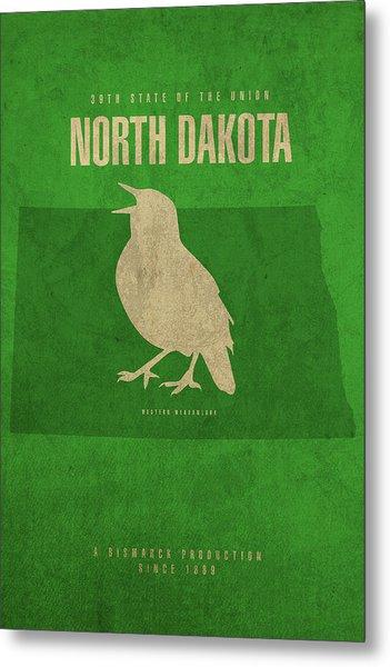 North Dakota State Facts Minimalist Movie Poster Art Metal Print
