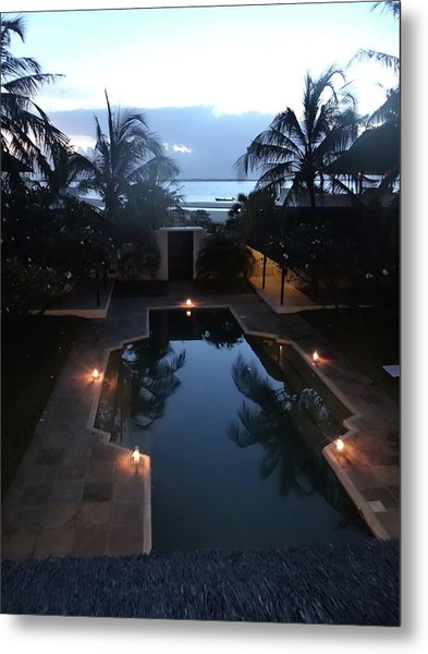 North - Eastern African Home - Sundown Over The Swimming Pool Metal Print