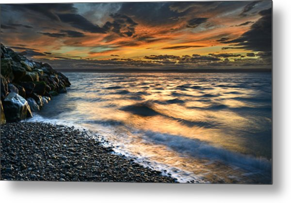 North Jetty Sunset Metal Print