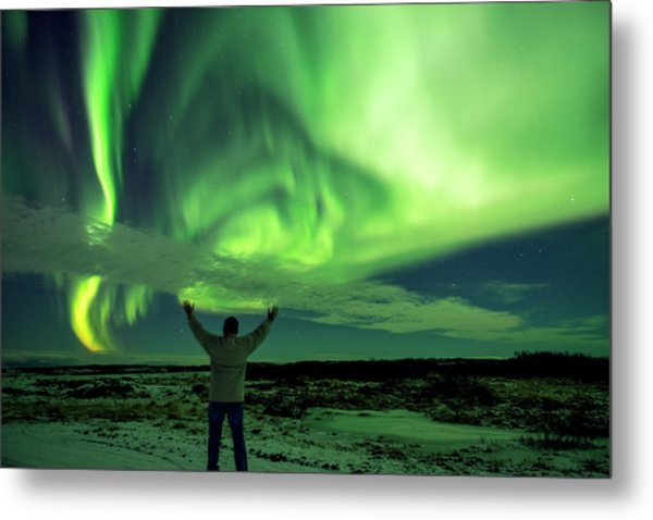 Northern Light In Western Iceland Metal Print