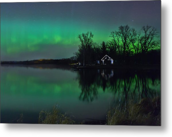 Metal Print featuring the photograph Northern Lights At Gull Lake by Susan Rissi Tregoning
