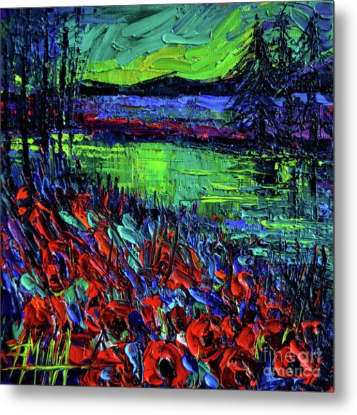 Northern Lights Embracing Poppies Metal Print