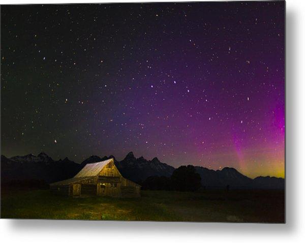 Northern Lights Over The Tetons Metal Print