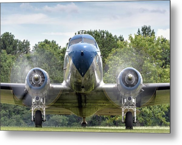 Nose To Nose With A Dc-3 Metal Print
