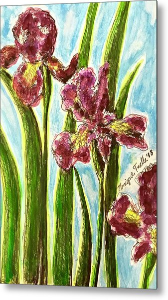 Nostalgic Irises Metal Print