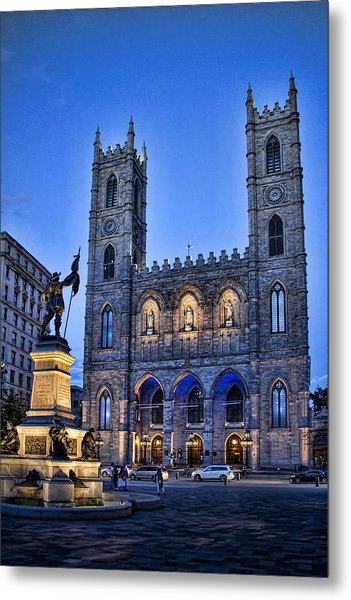 Notre Dame Basilica In Montreal As Dusk Metal Print