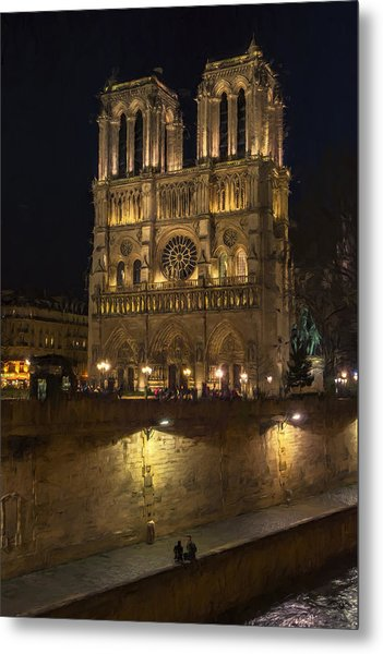 Notre Dame Night Painterly Metal Print