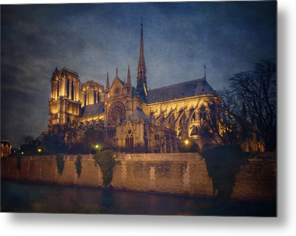 Notre Dame On The Seine Textured Metal Print
