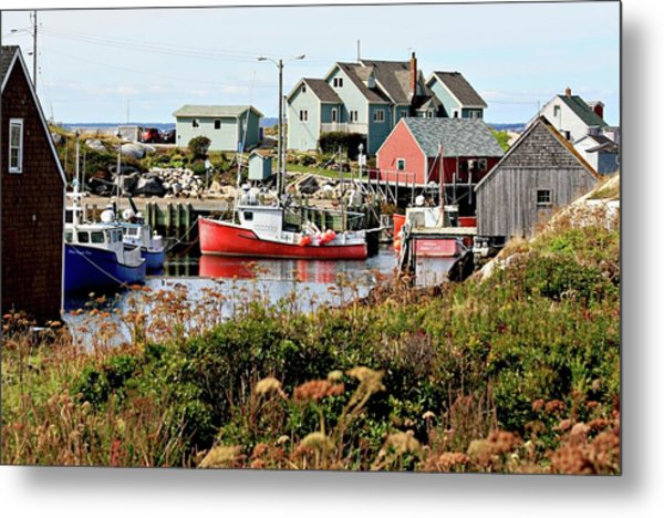 Nova Scotia Fishing Community Metal Print