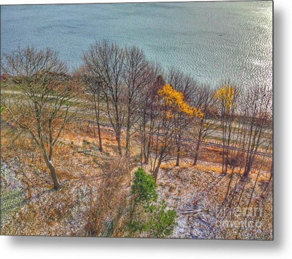 November Snow On Casco Bay Metal Print