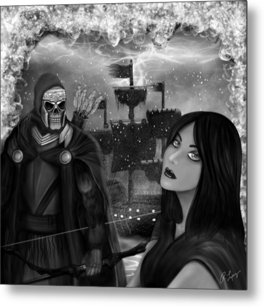 Now Or Never - Black And White Fantasy Art Metal Print