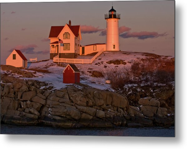 Nubble Light At Sunset Metal Print