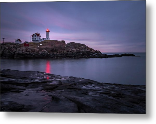 Nubble Light Blue Hour Metal Print
