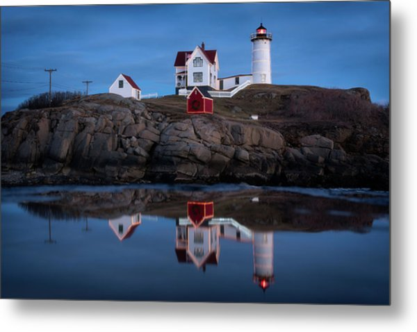 Nubble Light - Holiday Lights During Blue Hour Metal Print