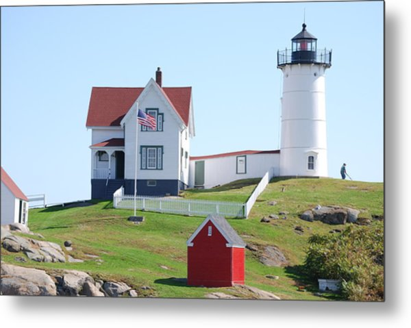 Nubble Light House  Metal Print by Armand Hebert