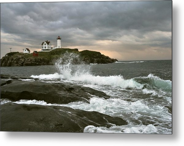 Nubble Light In A Storm Metal Print