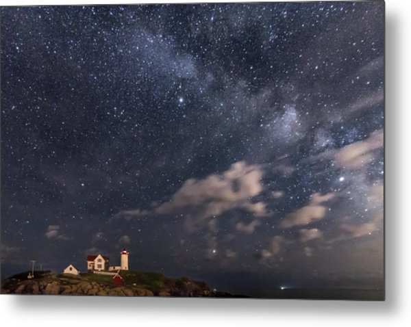 Nubble Lighthouse Under The Milky Way Metal Print