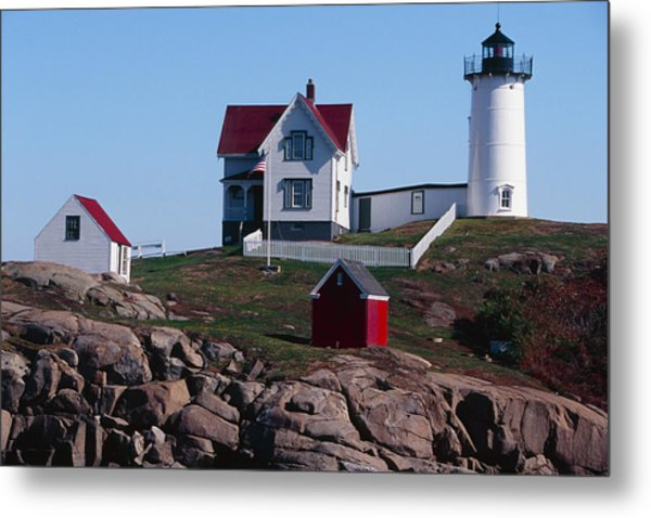 Nubble Point Lighthouse Metal Print by George Oze