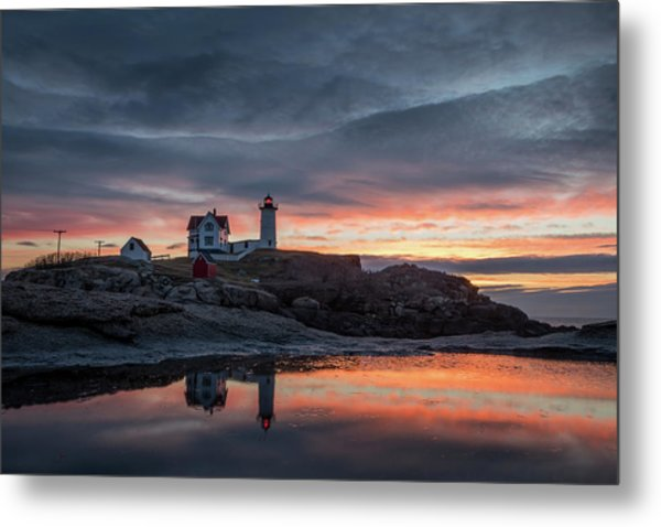 Nubble Sunrise Reflection Metal Print